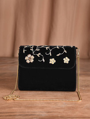 Black Hand Embroidered Velvet Clutch