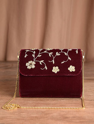 Maroon Hand Embroidered Velvet Clutch