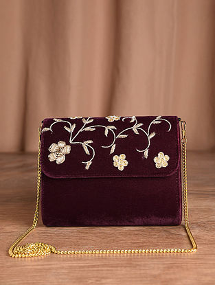 Wine Hand Embroidered Velvet Clutch