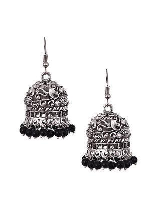 Black Silver Tone Tribal Jhumki Earrings