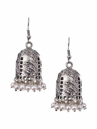 White Silver Tone Tribal Jhumki Earrings with Pearls