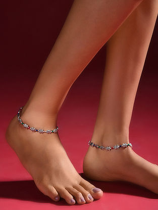 Multicolored Silver Tone Handcrafted Anklets