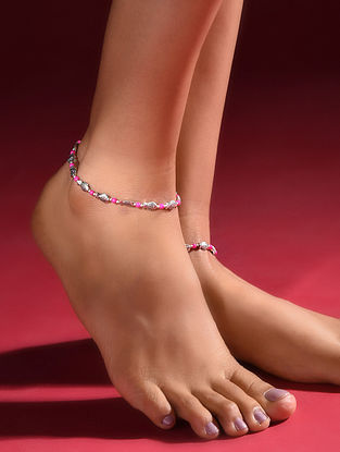 Pink Silver Tone Tribal Anklets