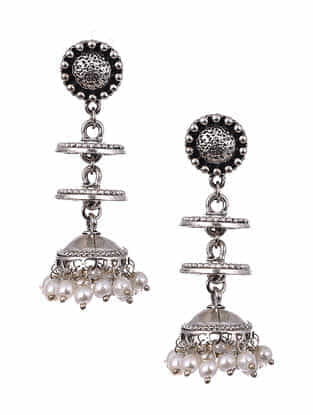 Silver Tone Tribal Jhumki Earrings With Pearls