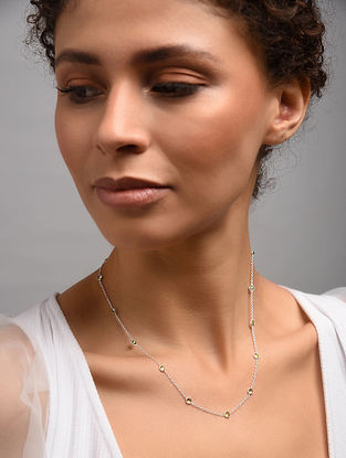 Classic  Silver Necklace With Peridot