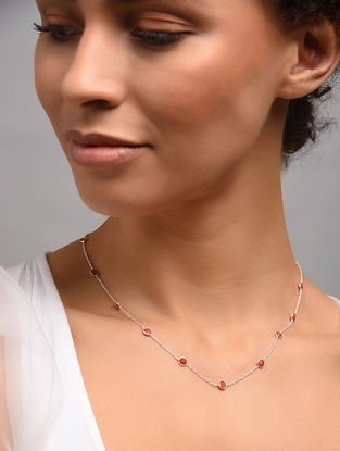 Classic Silver Necklace With Coral