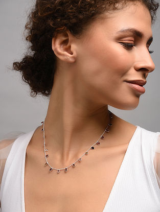 Classic Silver Necklace With Multi Tourmaline