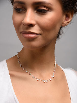 Classic  Silver Necklace With Freshwater Pearl