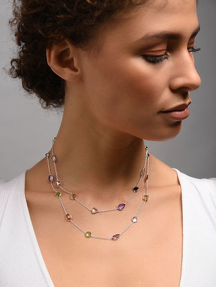 Classic Silver Necklace With Multi Stone