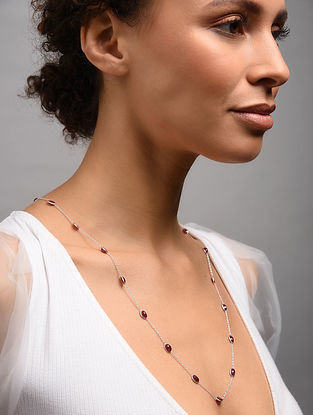 Classic Silver Necklace With Ruby