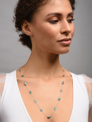 Classic Silver Necklace With Emerald