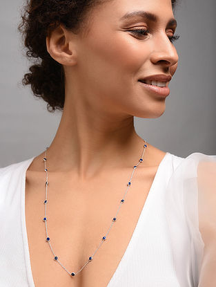 Classic Silver Necklace With Lapis Lazuli