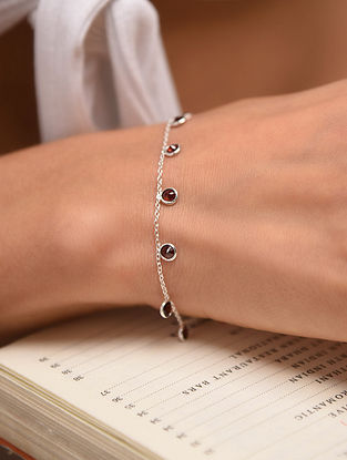 Classic Silver Bracelet With Garnet