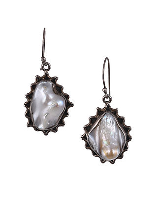 Silver Earrings with Baroque Pearls