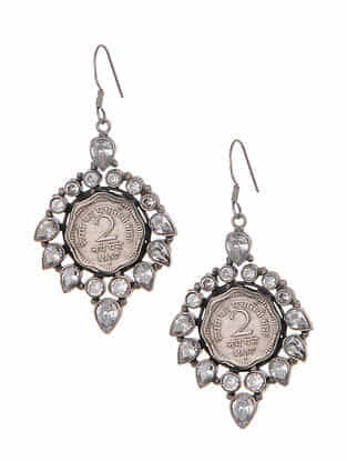 Kundan Silver Earrings with Coin Design