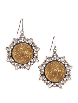 Dual Tone Kundan Silver Earrings with Coin Design