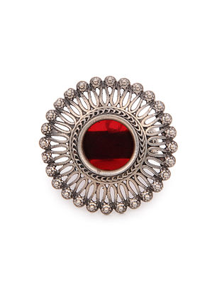 Red Glass Tribal Silver Adjustable Ring