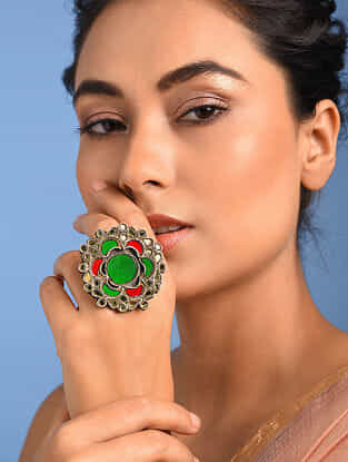 Red Green Glass Tribal Silver Ring (Ring Size: 8)