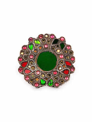 Red Green Glass Tribal Silver Ring (Ring Size: 9)