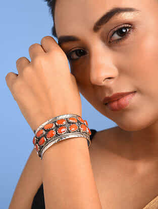 Tribal Silver Cuff with Coral
