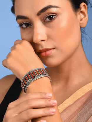 Tribal Sillver Cuff with Coral