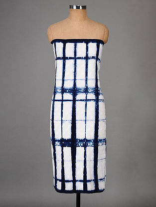 White-Indigo Hand Dyed Shibori Cotton Slub Kurta Fabric