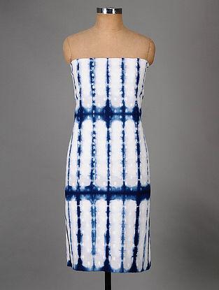 White-Indigo Hand Dyed Shibori Cotton Dobby Kurta Fabric