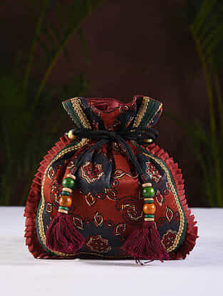 Green Maroon Handcrafted Silk Potli