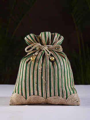 Green Gold Handcrafted Dupion Silk Potli