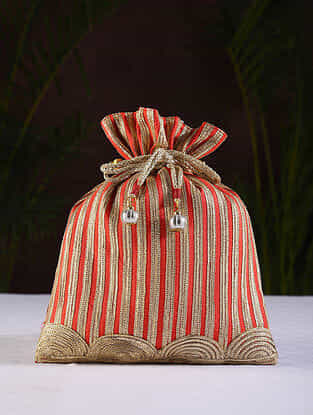 Red Gold Handcrafted Dupion Silk Potli