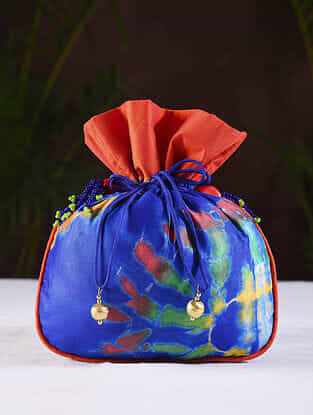 Blue Orange Printed Silk Potli