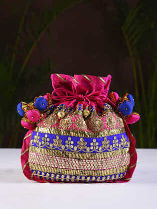 Pink Blue Handcrafted Cotton Silk Potli