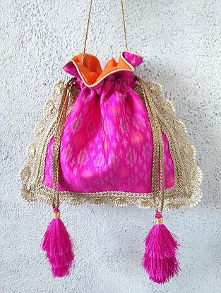 Pink Handcrafted Ikat Raw Silk Potli