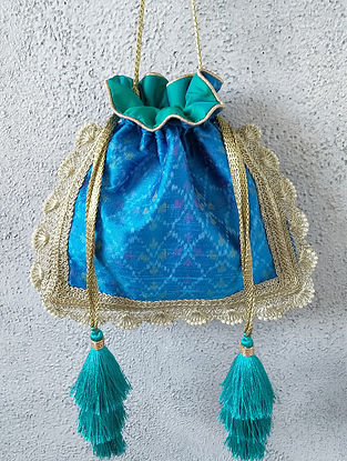 Blue Handcrafted Ikat Raw Silk Potli