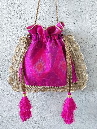 Purple Handcrafted Ikat Raw Silk Potli