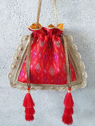 Red Handcrafted Ikat Raw Silk Potli