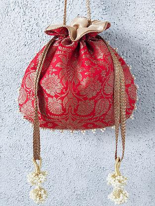 Red Handcrafted Banarasi Silk Potli