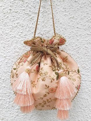 Peach Embroidered Poly Silk Potli