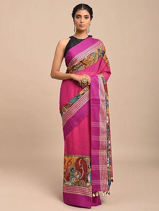 Pink Hand Painted Kalamkari Cotton Saree