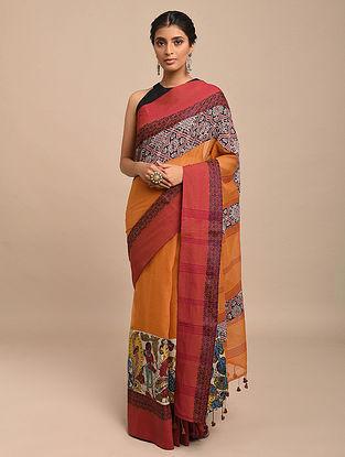 Orange-Red Hand Painted Kalamkari Cotton Saree