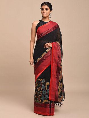 Black-Red Hand Painted Kalamkari Cotton Saree