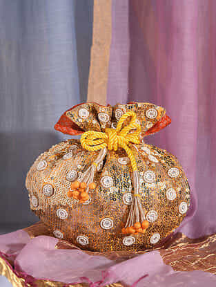 Orange Handcrafted Sequined Silk Potli