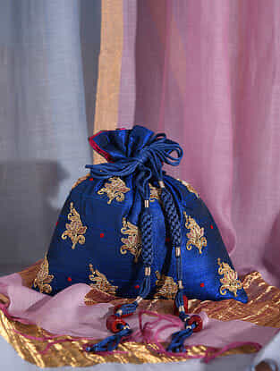 Blue Handcrafted Raw Silk Potli