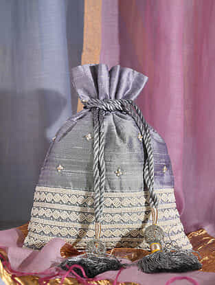 Grey Handcrafted Raw Silk Potli