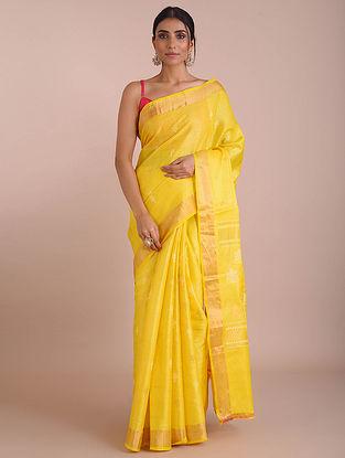 Lemon Handwoven Tussar Silk saree