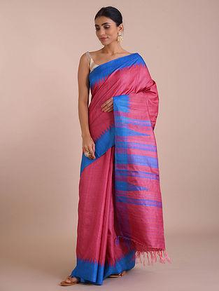Red-Blue Handwoven Tussar Silk saree