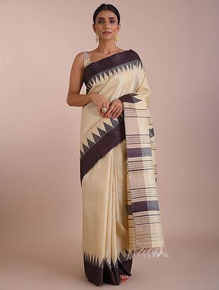 Ivory-Black Handwoven Tussar Silk saree