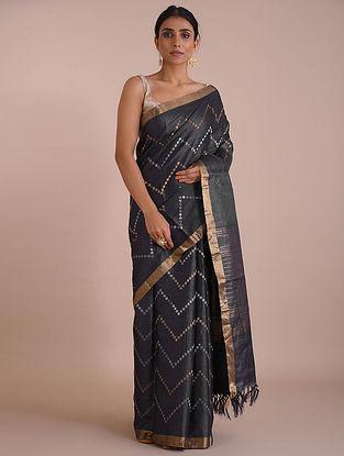 Black Handwoven Tussar Silk saree