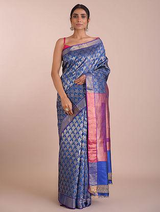 Blue Handwoven Tussar Silk saree