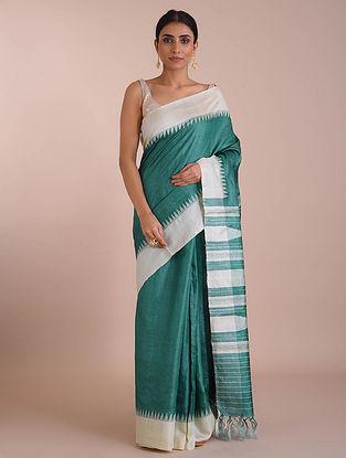Green-White Handwoven Tussar Silk saree